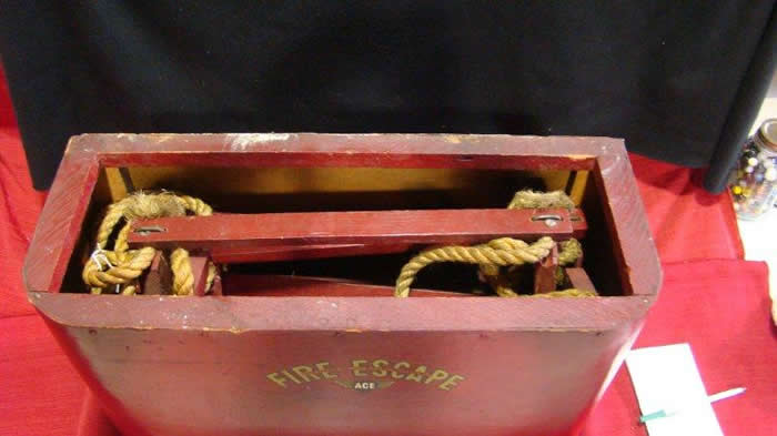 Vintage Rope And Wooden Fire Escape With Container