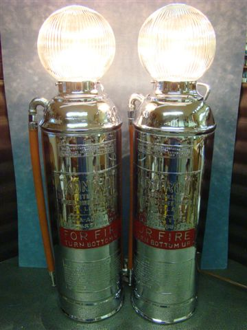 Pair Of Kontrol Chrome Plated Fire Extinguisher Lamps