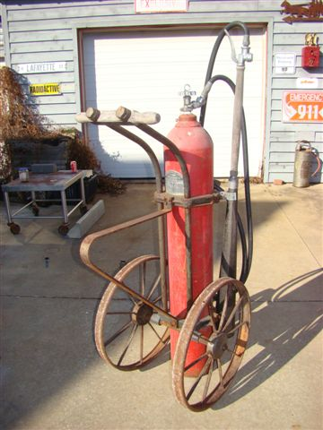 Co2 Fire Extinguisher On Two Wheel Cart